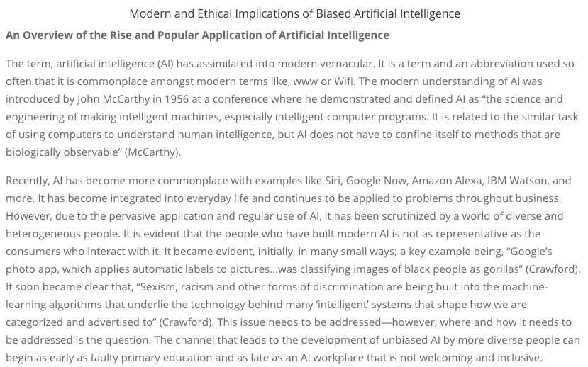 Modern and Ethical Implications of Biased Artificial Intelligence - Business Ethics Case Competition