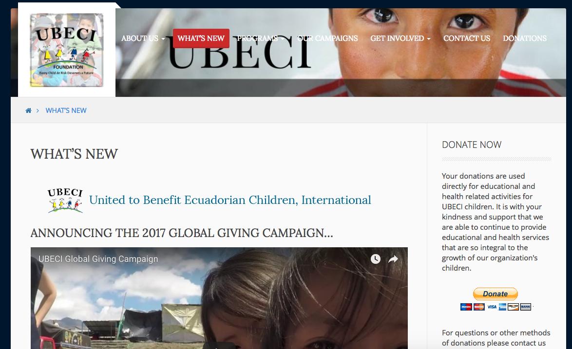 UBECI -- Web development, social media mtg, translation, and campaign management